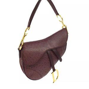 Dior purple ostrich skin Saddle bag super 90s